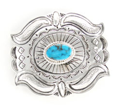 Center Turquoise Stamped Sterling Silver Belt Buckle - Navajo Native American Handcrafted - DISCONTINUED