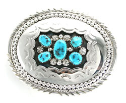 Sterling Silver and Turquoise Shadow Box Belt Buckle - Navajo Native American Handcrafted - DISCONTINUED