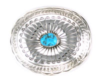 Oval Sterling Silver Belt Buckle with Turquoise Stone - Navajo Native American Handcrafted - DISCONTINUED