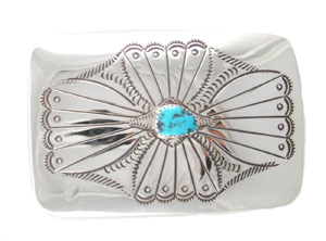 Stamped Sterling Silver Belt Buckle w/ Center Turquoise Stone - Navajo Native American Handcrafted - DISCONTINUED