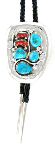 Turquoise and Coral Snake Sterling Silver Bolo Tie - Navajo Native American Handcrafted - DISCONTINUED