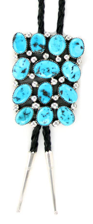 Turquoise Cluster Sterling Silver Bolo Tie - Navajo Native American Handcrafted - DISCONTINUED