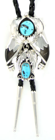 Bear Claw Sterling Silver Bolo Tie with Turquoise Stones - Navajo Native American Handcrafted - DISCONTINUED