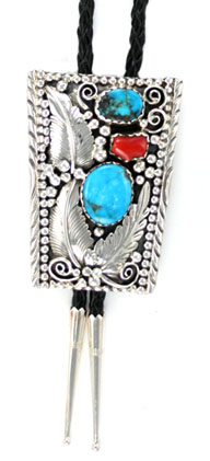 Turquoise and Coral Sterling Silver Bolo Tie - Navajo Native American Handcrafted - DISCONTINUED