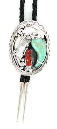Turquoise Claw Sterling Silver Bolo Tie with Coral Stone - Navajo Native American Handcrafted - DISCONTINUED