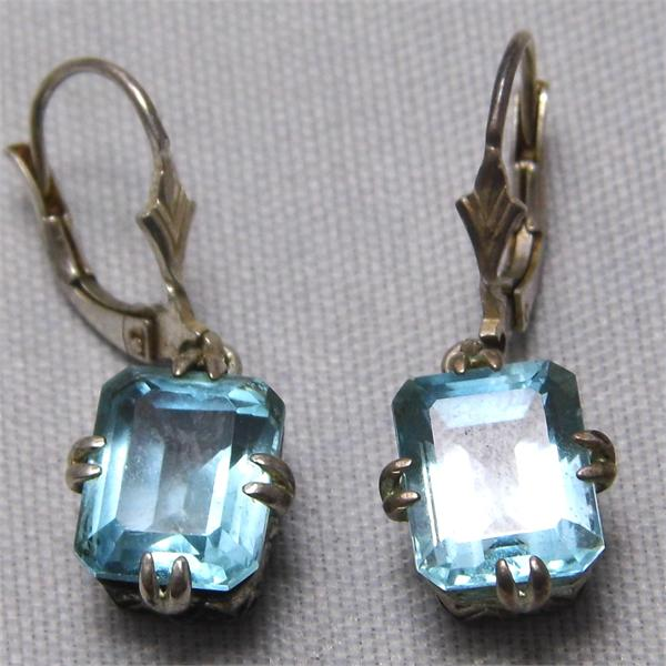 Vintage CNA Rectangle Blue Topaz Stone Dangle Earrings 925 Sterling Silver - SOLD