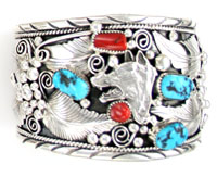 Turquoise and Coral Wolf Head Mens Bracelet - Navajo Native American Handcrafted - DISCONTINUED