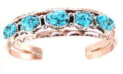 Copper and Turquoise Bracelet - Navajo Native American Handcrafted - DISCONTINUED
