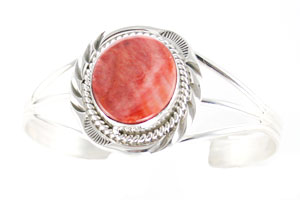 Sterling Silver and Red Spiny Bracelet with Twist Wire - Navajo Native American Handcrafted - DISCONTINUED
