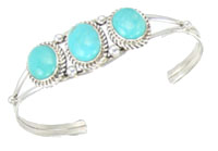 Sterling Silver Three Turquoise Bracelet - Navajo Native American Handcrafted - DISCONTINUED