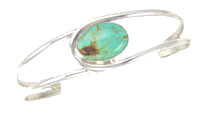 Sterling Silver Split Shank Bracelet with Single Turquoise Stone - Navajo Native American Handcrafted - DISCONTINUED