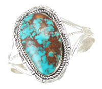 Large Turquoise Sterling Silver Bracelet - Navajo Native American Handcrafted - DISCONTINUED
