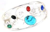 Multi Color Stones and Sterling Silver Bracelet - Navajo Native American Handcrafted - DISCONTINUED