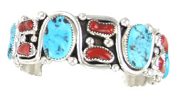 Turquoise and Coral Heavy Sterling Silver Bracelet - Navajo Native American Handcrafted - DISCONTINUED