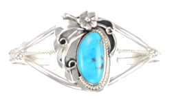 Sterling Silver Leaf and Flower Bracelet with Single Turquoise Stone - Navajo Native American Handcrafted - DISCONTINUED