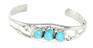 Three Turquoise Swirl Design Sterling Silver Bracelet - Navajo Native American Handcrafted - DISCONTINUED
