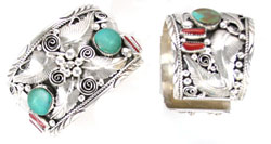Turquoise & Coral Wide Sterling Silver Cuff with Leaves - Navajo Native American Handcrafted - DISCONTINUED