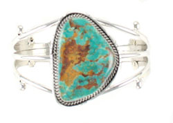 Three Shank Large Turquoise Bracelet - Navajo Native American Handcrafted - DISCONTINUED