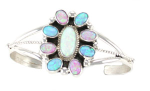 Multi Colored Cluster Synthetic Opal Bracelet - Navajo Native American Handcrafted - DISCONTINUED
