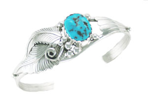 Turquoise Leaf Bracelet - Navajo Native American Handcrafted - DISCONTINUED