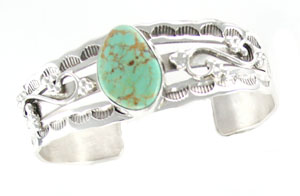 Sterling Silver Stamped Bracelet with Freeform Turquoise Stone - Navajo Native American Handcrafted - DISCONTINUED