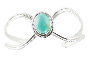 Sterling Silver Open Wave Bracelet with Turquoise Stone - Navajo Native American Handcrafted - DISCONTINUED