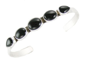 Black Onyx Row Bracelet - Navajo Native American Handcrafted - DISCONTINUED