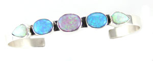 Synthetic Five Stone Multi Opal Row Bracelet - Navajo Native American Handcrafted - DISCONTINUED