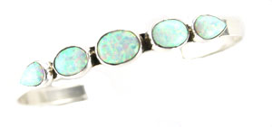 Five Synthetic White Opal Stone Row Bracelet - Navajo Native American Handcrafted - DISCONTINUED