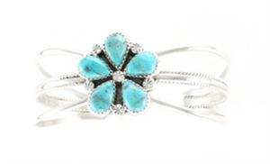 Turquoise Cluster Bracelet - Navajo Native American Handcrafted - DISCONTINUED