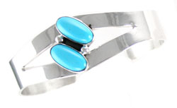Split Sterling Silver Bracelet with 2 Turquoise Stones  - Navajo Native American Handcrafted - DISCONTINUED