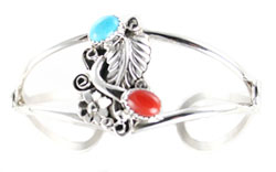 Sterling Silver Leaf Bracelet with Turquoise and Coral - Navajo Native American Handcrafted - DISCONTINUED