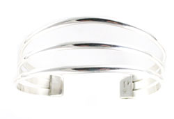 All Silver 3-Wire Bracelet  - Navajo Native American Handcrafted - DISCONTINUED