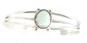 3-Wire Synthetic White Opal Bracelet - Navajo Native American Handcrafted - DISCONTINUED