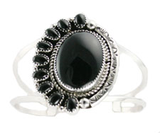 Ten Stone Black Onyx and Silver Bracelet  - Navajo Native American Handcrafted - DISCONTINUED