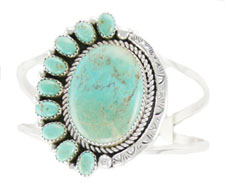 Ten Stone Stabilized Kingman Turquoise Bracelet - Navajo Native American Handcrafted - DISCONTINUED