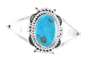 One Turquoise Split Shank Bracelet - Navajo Native American Handcrafted - DISCONTINUED
