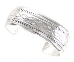 All Silver Stamped Cuff Bracelet  - Navajo Native American Handcrafted - DISCONTINUED