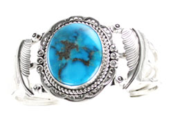 3-Shank Turquoise Bracelet with Leaves - Navajo Native American Handcrafted - DISCONTINUED
