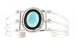 Oxidized Center Turquoise Bracelet - Navajo Native American Handcrafted - DISCONTINUED