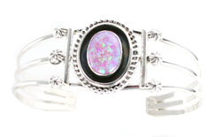 Oxidized Synthetic Pink Opal Center Bracelet - Navajo Native American Handcrafted - DISCONTINUED