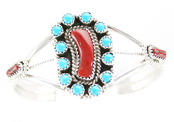 Split Shank Bracelet with Coral and 12 Turquoise Stones - Navajo Native American Handcrafted - DISCONTINUED