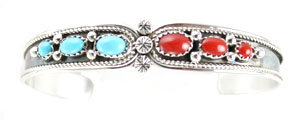 Twist Wire Sterling Silver Bracelet with Coral and Turquoise - Navajo Native American Handcrafted - DISCONTINUED