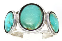 Three Large Turquoise Stones on Sterling Silver Bracelet - Navajo Native American Handcrafted - DISCONTINUED