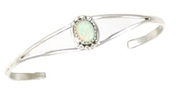Single Synthetic Opal Stone on Split Shank Bracelet  - Navajo Native American Handcrafted - DISCONTINUED