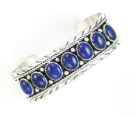 Lapis Row Cuff Bracelet - Navajo Native American Handcrafted - DISCONTINUED