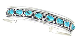 Sterling Silver with Eight Turquoise Row Bracelet - Navajo Native American Handcrafted - DISCONTINUED