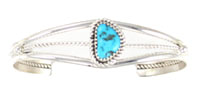Sterling Silver 3 Wire Shank Bracelet with Single Turquoise Stone - DISCONTINUED