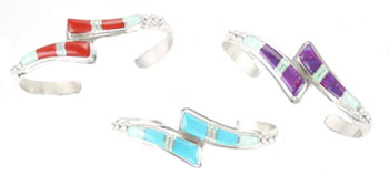 Multi Stone with Synthetic White Opal Wishbone Design Bracelet- Navajo Native American Handcrafted - DISCONTINUED