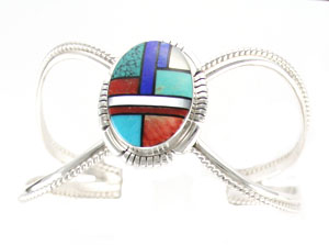 Multi Color Inlay Bracelet - Navajo Native American Handcrafted - DISCONTINUED